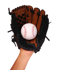 Hand of Baseball Player with Glove isolated on white