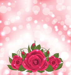 Luxury background with bouquet of pink roses