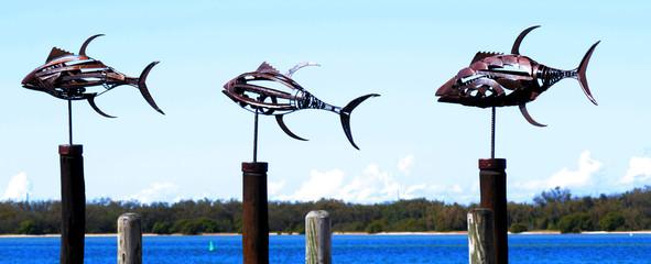 Metal fish sculptures