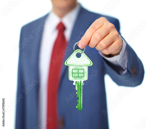 canvas print picture Hand with a house key.