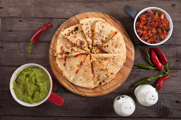 Quesadillas with guacamole and salsa dip