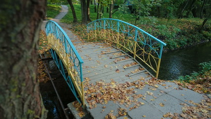 Wooden bridge in the autumn park Ukraine