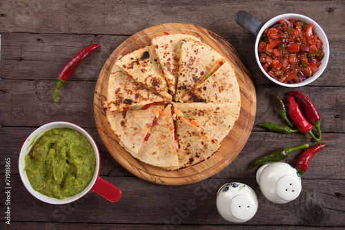 Quesadillas with guacamole and salsa dip Poster
