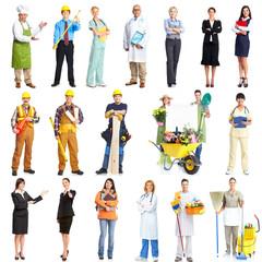 Set of workers people.