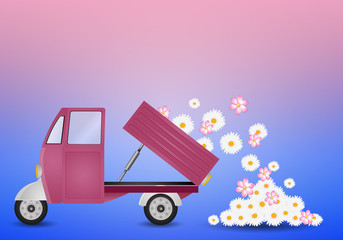 pickup truck with flowers in spring