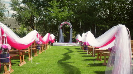 beautiful decoration for the wedding ceremony on the nature