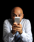 mobile addict businessman using compulsively online cell phone poster