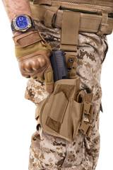Soldier man in camouflage uniform.