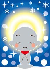 雪の中で輝く慈悲の光