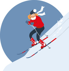 Woman alpine skiing