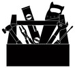 Construction Tools in Tool Box Black and White Illustration - 71920696