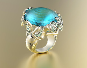 Golden Engagement Ring withwith Blue topaz or aquamarine. Jewelr