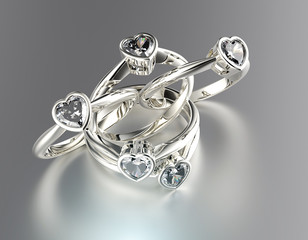 Engagement Ring with heart shape  Diamond. Jewelry background