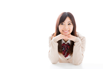young asian woman thinking on white background