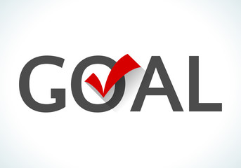 Business goal concept. Goal icon with red check mark on white