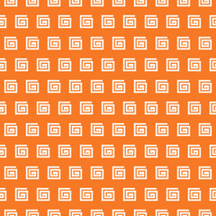 Greek vector seamless pattern. Orange and white colors