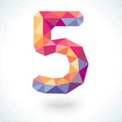 Number five in modern polygonal crystal style. Vector