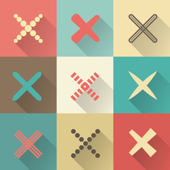Set of different retro vector crosses and tics