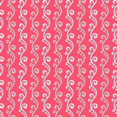 Cute different vector seamless pattern. Pink, white and grey