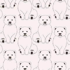 Bears pink seamless pattern on neutral background