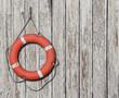 Lifebuoy on old wood white background - 71921630