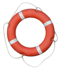 Red lifebuoy isolated