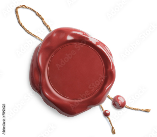 Red wax seal with rope isolated - 71921625