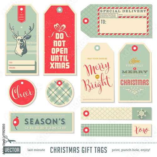 Fotobehang Hipster Hert set of ready-to-use christmas gift tags