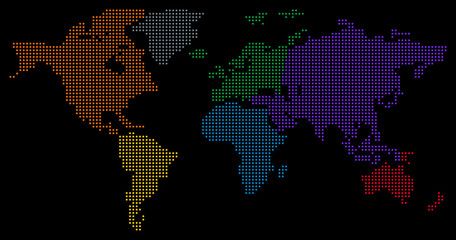Dotted World Map - black