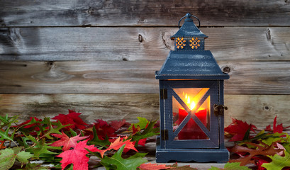 Glowing Lantern during Autumn Season