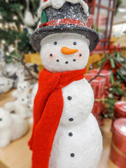 Christmas snowman in a hat and scarf