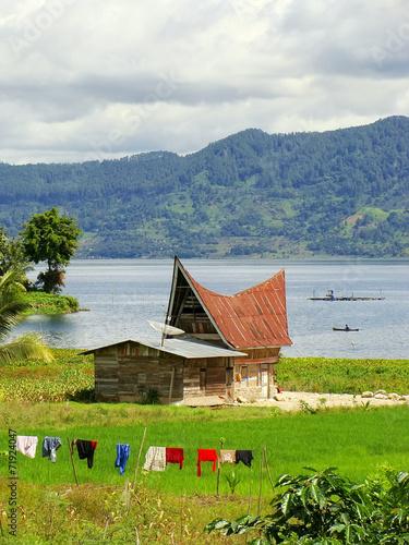 Traditional Batak house on Samosir island, Sumatra, Indonesia - 71924047