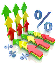 Percentage with arrows pointing up financial growth concept