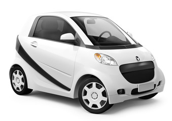 3D Image of White smart car