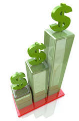 Bar chart of financial growth, dollar sign