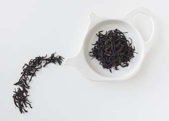 Tea leaf in white plate,food idea concept