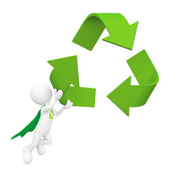 3D Green superhero holding symbol recycle