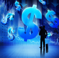 Silhouette of Businessman on Financial Crisis