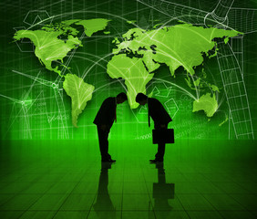 Business People on Green World Economic