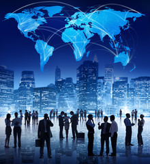 Silhouette of People in Global Business Meeting
