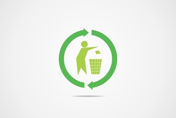Recycle symbol logo vector