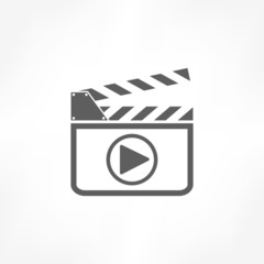 film slate play button icon