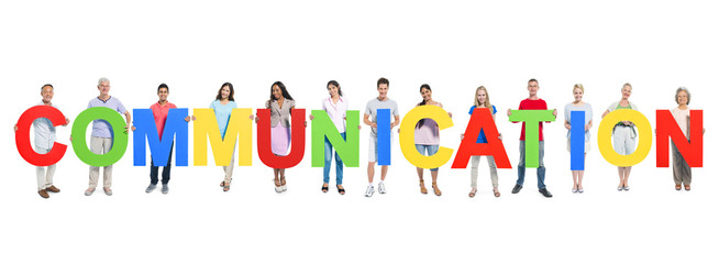 Group of People Holding Word Communication