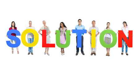 Group of People Holding Word Solution