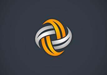 circle shape construction technology vector logo