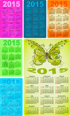 Set colorful pocket calendars for 2015