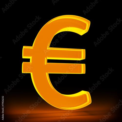 canvas print picture leuchtendes Eurosymbol