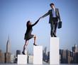 Obrazy na płótnie, fototapety, zdjęcia, fotoobrazy drukowane : Businessman Helping a Colleague to Succeed