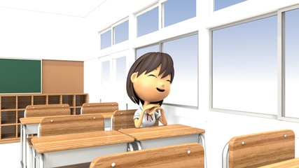 教室で微笑む女子生徒の3Dイラスト