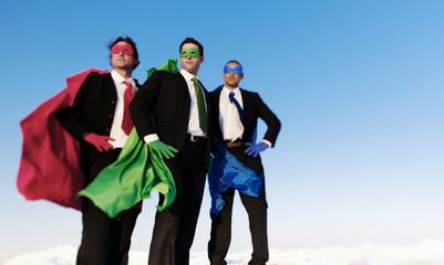 Group of Business Superhero Posing Unanimously